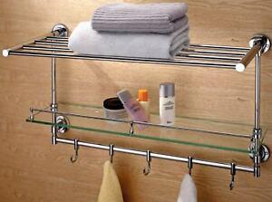 LUXURY 3 IN 1 CHROME BATHROOM TOWEL RACK SHELF HOOKS  TOWEL 50CM
