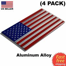 "(4 PACK) ALUMINUM US Flag Sticker 3D Emblem Decal Patriotic USA 3.15""x1.75"""