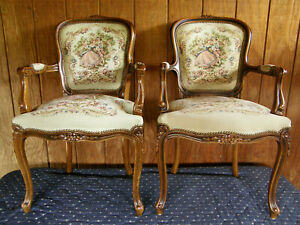 Arm Chairs French Provincial Tapestry Pair Chateau D'ax Fauteuil Bergere Italy