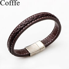 Genuine Leather Bangle Magnetic Buckle Bracelet Chic Men Women Fashion Jewelry Coffee