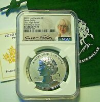2021 CANADA S$1 PEACE SILVER DOLLAR UHR REVERSE PROOF  NGC REV PF70 FDI -TAYLOR
