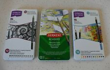 3 SETS Of Derwent Academy Sketching, COLOUR & WATERCOLOUR 36 Pencils *BNIB*