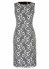 2 TONE Black white Lace Over layer Shift Tea Dress size 16 NEW
