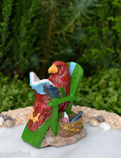 Miniature Dollhouse FAIRY GARDEN ~ Sea BEACH Island Parrot Reading Lounge Chair