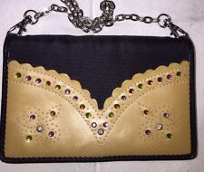 Sharif Leather & Canvas Crossbody Wallet Purse Embellished Crystals Black & Tan