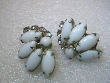 Vintage Silver Tone Art Deco Milk Glass & Rhinestone Crescent Clip Earrings