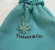 Tiffany&Co. Sterling Silver 925 Blue Enamel Daisy Flower Charm