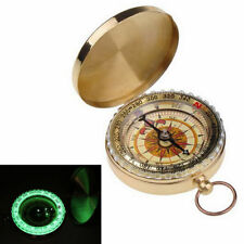 Brass Pocket Watch Style Outdoor Camping Military Compass Navigation Keychains