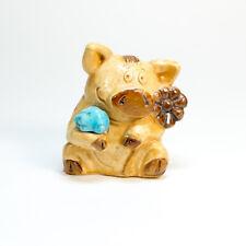 Funny Pig & Turquoise, Dollhouse miniature. Plaster Figurine. Netsuke Amulet