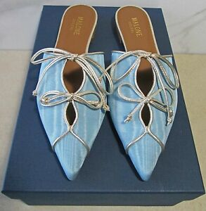 NIB MALONE SOULIERS PWDR BLUE/SILVER VISCOSE/LEATHER VILVIN MOIRE MULES SLIDES
