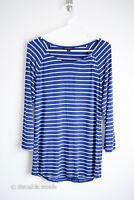 Banana Republic Women's Size M Blue White Striped 3/4 Sleeve Boat Neck Top Shirt