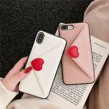 For iPhone 12 11 Pro Max XR Card Stand Heart Envelope Leather Wallet Case Cover