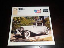 1932 Auburn 8-100 Car Photo Spec Sheet Stat Info CARD