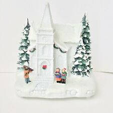 Illuminated Plug-in White Church Christmas Scene by Valerie H205805 NEW