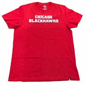 CHICAGO BLACKHAWKS NHL ('47 BRAND) CARDINAL RED MENS TEE SHIRT SZ X-LARGE XL NWT