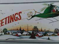 1961 Vtg SANTA Flies HELICOPTER Over City w Banner CHRISTMAS GREETING CARD MCM