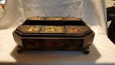 Black papier mache / wood vintage Victorian Japanese antique sewing box