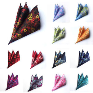 Men Fashion Colorful Paisley Floral Pocket Square Handkerchief Wedding Hanky NEW