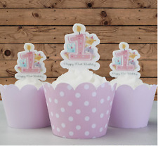 baby girl first 1st birthday candle edible wafer cupcake cake toppers