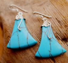 Ohrhänger 4 cm Silber Türkis Engel Modern Ohrringe Hänger Spirale Glanz Blau