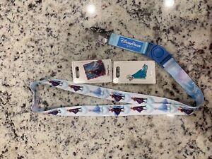 Disney Parks Frozen 2 Elsa Anna Reversible Lanyard 2 Elsa Anna pins - NEW