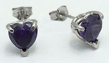 1.13 carats AMETHYST 14k White Gold Push Back Earrings * FREE SHIPPING SERVICE *