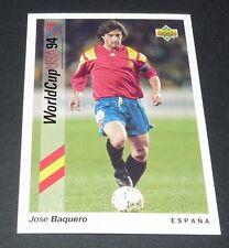 JOSE BAQUERO BARCELONA ESPAÑA FOOTBALL CARD UPPER DECK USA 94 PANINI 1994 WM94