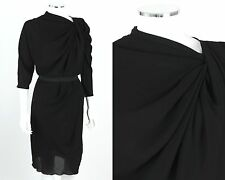 LANVIN A/W 2009 BLACK GEORGETTE 3/4 SLEEVE ASYMMETRICAL COCKTAIL DRESS Size 40