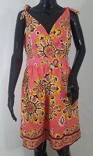 Trina Turk Los Angeles Womens Dress Size 4 100% Silk Peachy Coral Print Lined