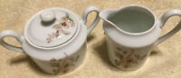 A. GIRAUD LIMOGES CREAMER & SUGAR WITH LID! HANDPAINTED FLORAL! SAUVIAT FRANCE