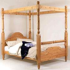 4FT6 Double Bed Frame SOLID PINE FOUR POSTER With Barley Twist Rail