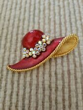 Womens Brooches, red hat brooch with pearlescent stones