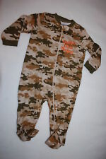 826a6aa44 Baby Boys Pajamas CAMOUFLAGE KNIT SLEEPER Footed DADDYS LITTLE TROOPER Sz  6-9 MO