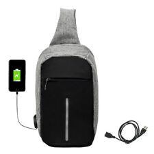 Anti-theft Backpack Laptop Sport Unisex Travel Haking Oxford Bags USB Charger 04 Grey