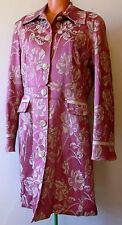 """Vintage Women's Coat Floral Fitted Brocade Mid-Length Sz 14 42"""" Excellent Pin-Up"""