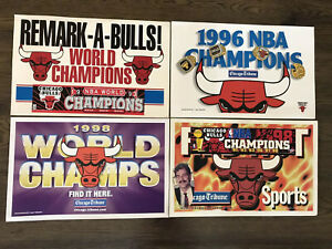 Lot of 4 Chicago Bulls Championship Signs / Posters - Chicago Sun Times Jordan