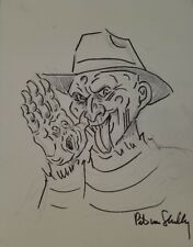"""Freddy Krueger"" Pete Von Shelly Original Drawing On Board Autograph World COA"