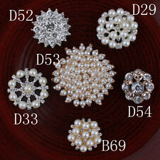 Metal Decorative Rhinestone Buttons+Crystal Pearls Craft Supplies Flatback 30pcs