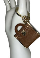 Michael Kors Purse Brown & Gold Tone HangTag Keychain Key Ring Clip FOB Metal Kj