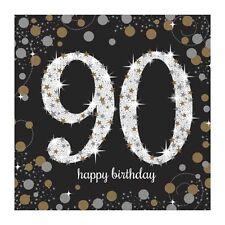 16X Negro 90 Años Servilletas Oro Plata 90th Cumpleaños Vajilla