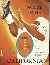 Sept 24 1960 Notre Dame vs California Football Program ORIGINAL!