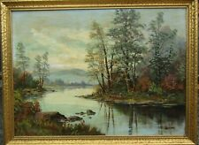 LISTED M. Hasselbar Peaceful Lake View at Dusk Large OLD Antique Oil Painting NR