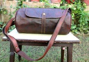 15'' Leather bag Messenger Gym Yoga bag Hand Crafted Collectible Indian Art