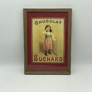 Vintage French Chocolat Suchard Framed Postcard Advertisement