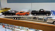 3 Car open trailer goose neck 1:24 1:25 scale model