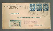 1921 Mexico City Cover to Sydney OH USA Registered Sunburst