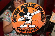 Mickey Mouse Converse Sneakers Shoe Store Gas Oil Porcelain Metal Sign