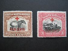 """Two NORTH BORNEO with """"+4 cent"""" overprint - 1918 - sg235 sg237 - MH"""