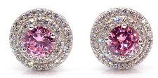 Sterling Silver Pink Sapphire & Diamond 3.12ct Stud Earring (925)
