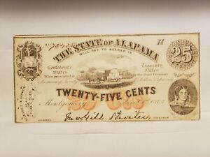 1863 25c Confederate Note From The State Of Alabama.